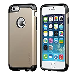 iPhone 6/6s Case, LUVVITT [Ultra Armor] Shock Absorbing Case Best Heavy Duty Dual Layer Tough Cover for iPhone 6 / iPhone 6s - Black / Champagne Gold