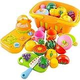 Vococal - 13 piezas Kit Juego Divertida Juguetes Cocina corte frutas verduras con cestas para niña niños bebés,Color al azar