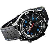 Sanwood Men's Racer Pilot Aviator Army Style Silicone Wrist Watch