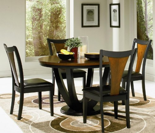 5pc-casual-dining-table-and-chairs-set-in-black-and-cherry-finish