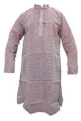 Indiatrendzs Men's Cotton Kurta (Mk-87 _Pink _46)