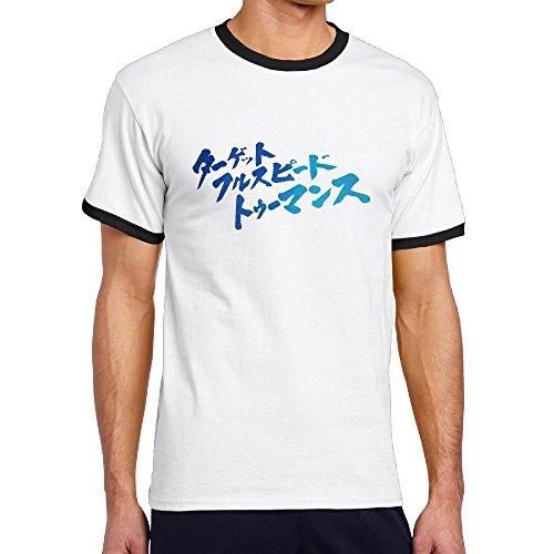 AetherTime メンズ 半袖 リンガー Tシャツ 名言 ターゲット フルスピード! 水彩 グラデーション ストリートカットソー オリジナルプリント