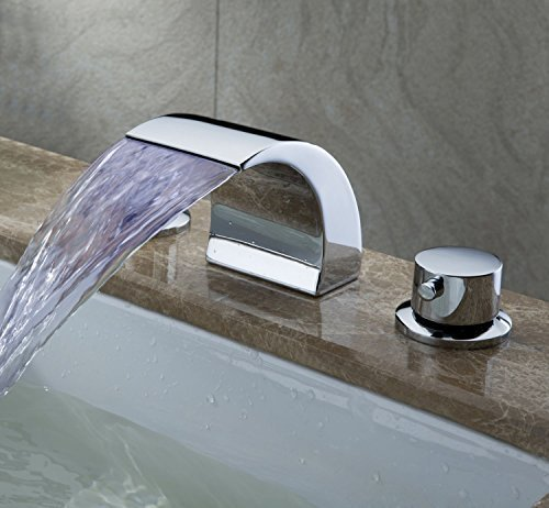 Greenspring Deck Mount Double Handles Led Waterfall Contemporary Widespread Bathroom Sink Faucet Chrome Finish (Bathroom Waterfall Faucet 3 Hole compare prices)