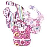 Bumkins 3 Pack Waterproof SuperBib, Girl G19 - Ribbons, Butterfly, Pink Fizz