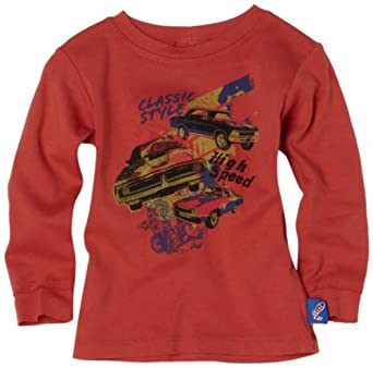 Charlie Rocket Baby-boys Infant Classic Car Tee, Red, 9-12 Months
