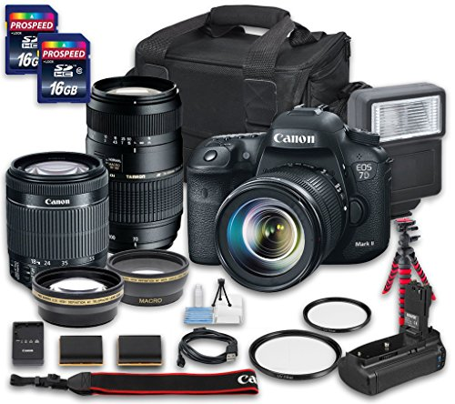 Canon EOS 7D Mark II DSLR Camera Bundle with Canon EF-S 18-55mm f/3.5-5.6 IS STM Lens + Tamron Zoom Telephoto AF 70-300mm f/4-5.6 Macro Autofocus Lens + 2 PC 16 GB Memory Card + Camera Case (Canon 7d Package compare prices)