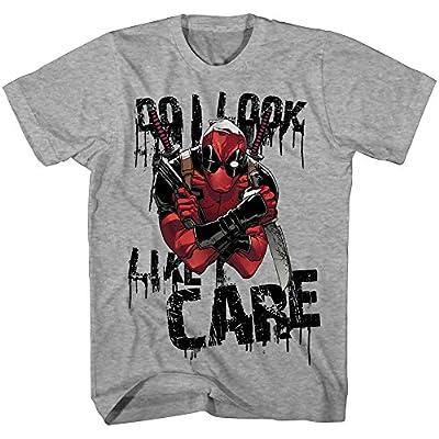 Deadpool Do I Look Like I Care Mens Grey Heather T-shirt
