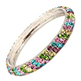 Dazzling Multi Color Rhinestone and Silvertone Bangle