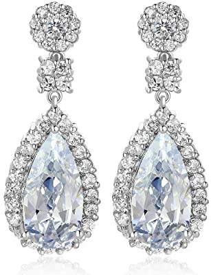 Pear Drop Clear Crystal And Cubic Zirconia Dangle Earrings Silver Tone Finish
