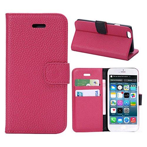 iPhone6/iPhone6 Plus用レザー 手帳型/財布型 ケース カードポケット・スタンド機能付き(LIT-SHOP) (iPhone6 Plus(5.5インチ), ピンク)
