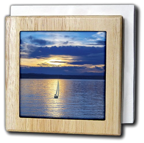 Florene - Boats And Sunsets - Print of Lone Sailboat Under Blue Yellow Skies - 6 inch tile napkin holder (nh_214469_1)