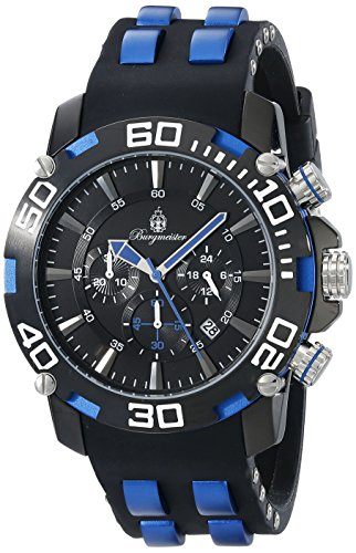 Burgmeister Men's Quartz Watch with Black Dial Chronograph Display and Black Bracelet BMT01-622B