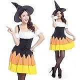 パーティーフリークGO!GO! とんがり帽子で小顔見せ! ハロウィン パンプキン カラーの 魔女 魔法使い 大人 コスプレ 衣装 a438