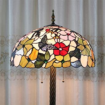 stained glass butterfly flower floor lamp 3 light bulbs. Black Bedroom Furniture Sets. Home Design Ideas