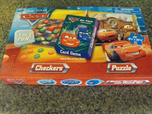 Disneys Cars Rummy Card Game, Checkers, and 48 Piece Puzzle