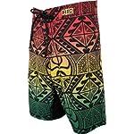 HIC Ilima 8 Way Octo Super Stretch Polyester Spandex Boardshorts in Rasta - 32