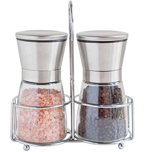 Willow & Everett Salt and Pepper Grinder Set with Adjustable Coarseness and Matching Stand