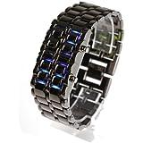 メタル バングル LED 腕時計 ブラック メンズ LED ブルー