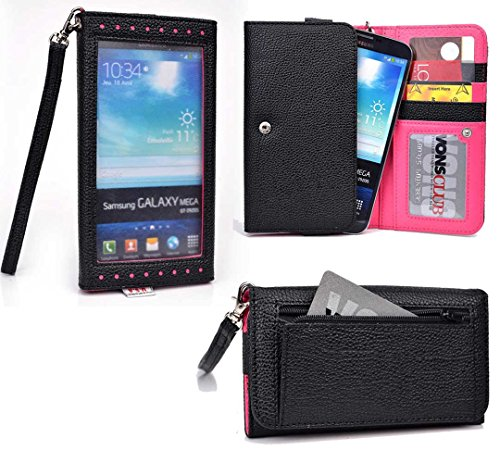 Smartphone Wallet Fits Blu Studio 6.0 Hd | Slate Black & Hot Pink front-1020052