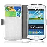 JAMMYLIZARD | Luxuriös Wallet Ledertasche Hülle für Samsung Galaxy S3 Mini, WEIß / CHAMPAGNER