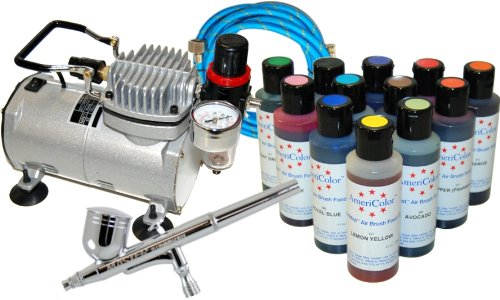 CAKE DECORATING AIRBRUSH KIT with 12 Food Colors and Air Compressor