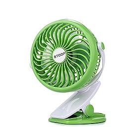 BTOOP Battery Fans Stroller Clip Fans with Speed Adjust 360 Degree Ultra-quietness (Green, 5\
