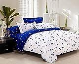 ZHIYUAN 星と月のパターンとベッドシーツ掛け布団カバー枕カバー,シングル,青と白