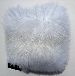 Designer Cynthia Rowley Luxury Pillow 100% Mongolian Lamb Wool with Faux Suede Back 16 x 16 White