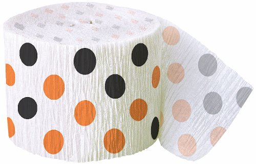 30ft Orange & Black Polka Dot Halloween Crepe Paper Streamers (Dot Crepe Paper compare prices)