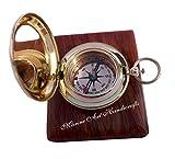 Handmade Brass Push Button Direction Compass POCKET COMPASS. C-3191