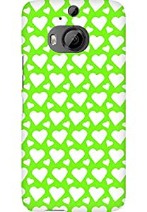 AMEZ designer printed 3d premium high quality back case cover for HTC One M9 Plus (green white hearts)