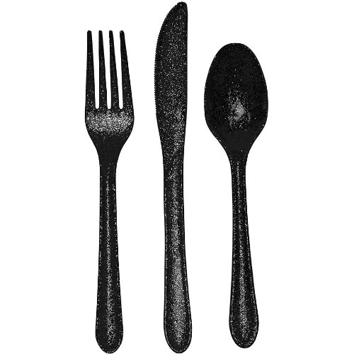 Glitz Black Glitter Plastic Cutlery Assortment