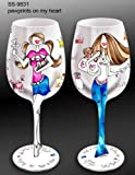 Bottom's Up 15-Ounce Pawprints on My Heart Handpainted Wine Glass