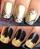 WATER DECALS NAIL TRANSFERS STICKERS! PLUS GOLD LEAF SHEET FOR CUSTOM DESIGNED NAIL! ANIMAL PRINT FLOWERS BOWS LACE FRENCH TIPS WRAP & 24KT GOLD LEAF! CAN BE USED WITH NATURAL GEL ACRYLIC STICK ON NAILS! USE WITH GLITTER DUST CAVIAR BEADS ALLOYS DECORATI