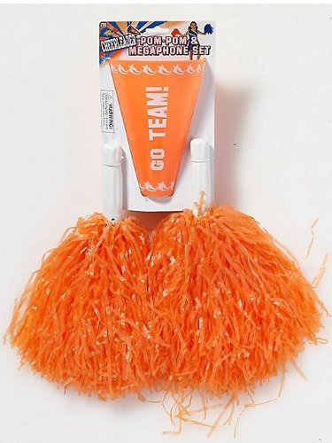 Cheerleader Orange Pom-Poms & Megaphone Set