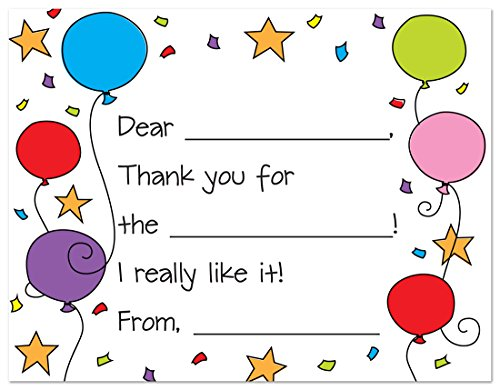 Big Save! Colorful Balloons Fill-in Birthday Thank You Cards