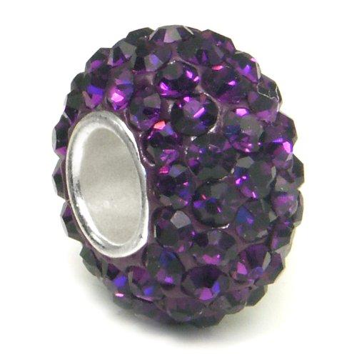 Swaroski Amethyst Purple Crystal Ball Bead Sterling
