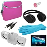 Skque® pink 7 Inch Laptop Dual Pocket Carrying Case + Anti Scratch Screen Protector + white Speaker Fold-up Docking Station + black Bluetooth Headset + pink Crystal 3.5mm Dustproof Headphone Plug + blue touch screen glove + 3.5mm Aux Cable Straight for Sony Xperia Tablet S
