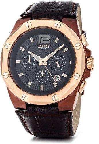 Esprit  ES102881004 - Reloj de cuarzo para hombre, con correa de cuero, color marrón
