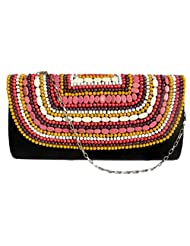 GLASS BEADS PEARL STONE FLAP SATIN BLACK FLOWER MULTICOLORED CLUTCH