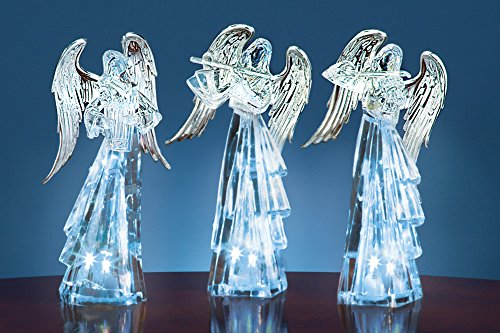 Led Color Changing Crystal Clear Angel Figurines - Set Of 3