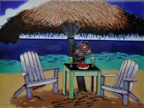 Continental Art Center AD-0176 12 by 16-Inch Palapa with Two Chairs Ceramic Art Tile