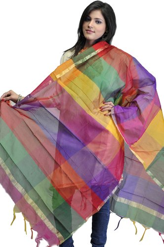 Exotic India Multi-Color Rainbow Chanderi Dupatta with Golden Thread Weave