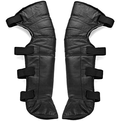 "One Pair New 23"" Black Leatherette Windproof Winter Outdoor Foot Knee Warmer Gaiter Legging Leg Cover Half Chaps Biking Riding Snow Skids"
