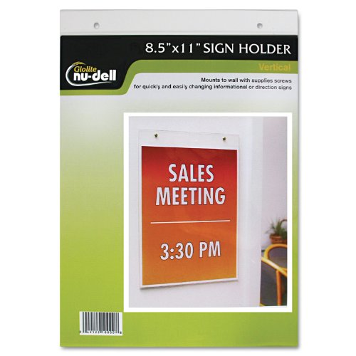 Nu-Dell 38011Z Clear Plastic Sign Holder, Wall Mount, 8 1/2 x 11 Inches