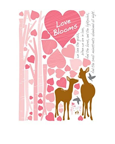 Ambiance Live Vinilo Decorativo Pink hearts and deers Multicolor