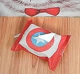 "Tissue Box Cover Rectangular Cotton Linen Woven Tissue Box Holder With Cotton Hanging Hook,13.4""x9.5"",Home Car Decor (Captain America)"
