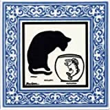 CAT TILE - CAT WALL PLAQUE - CAT TRIVETS WITH BLUE VICTORIAN BORDER: CA-7B by Besheer Art Tile, Bedford, N.H. U.S.A.