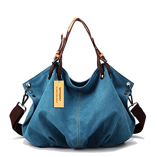 Women's Canvas Tote Bag, WITERY Casual Vintage Canvas Tote Bags Top Handle Bags Shoulder Bag Handbags Shopping Bag for Women Blue (Bosch Pocket Knife compare prices)