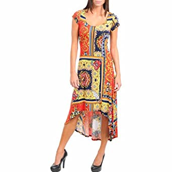 Red & Yellow Multi Color Boho Print Short Sleeve Hi-Lo Maxi Dress Size Small